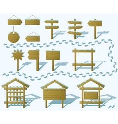 Wood signs winter set gradient vector