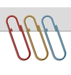 Set of colored paper clips vector