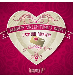 Red valentines day greeting card with red heart vector