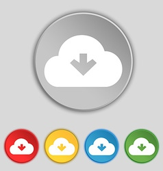 Download from cloud icon sign symbol on five flat vector