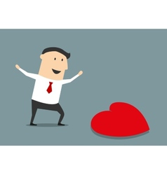 Happy businessman finding a love heart vector