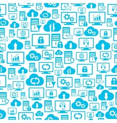 Seamless pattern with hosting cloud icons vector