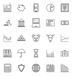 Stock market line icons on white background vector