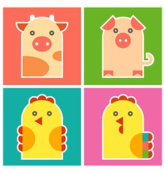 Chicken cock pig and cow vector