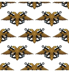 Double headed imperial eagle and crossed anchors vector