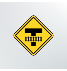 Warning traffic railroad crossing icon vector