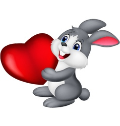 Cute little bunny holds red hart vector
