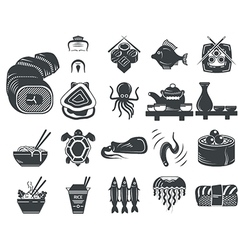 Black icons for asian and seafood menu vector