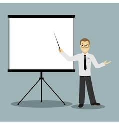 Flat design businessman pointing presentation vector