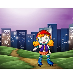 A young girl rollerskating across the tall vector