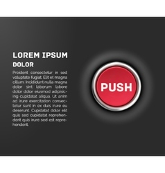 Push button 3d red glossy metallic icon template vector
