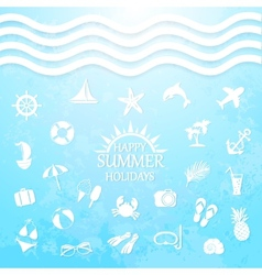 Happy summer holiday sea icons vector