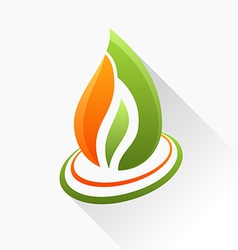 Symbol fire orange and green flame glass icon with vector