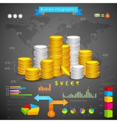 Coin bar graph business infograph vector