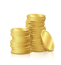 Stack of gold coins isolated on white background vector