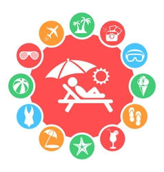 Summertime circle with summer icons isolated on vector