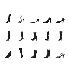Silhouette shoe and boot icons vector