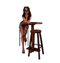 Cartoon girl with glasses sitting on a bar stool vector