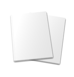 Collection of various blank white books on white vector