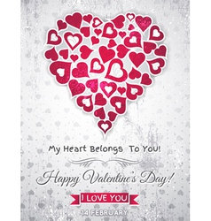 Valentines day greeting card with white heart vector