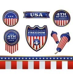 4th of july badges vector