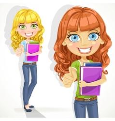 Cute teen girl with wavy hair shows ok vector