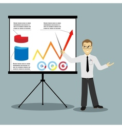 Flat design businessman pointing at presentation vector