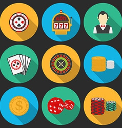 Colorful icon set on a casino theme gambling icons vector