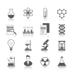 Chemistry icons black vector