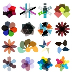 Abstract geometrical colorful business icon set vector