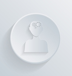 Circle icon man thinks the gears in head vector