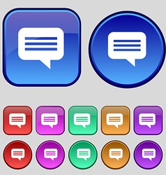 Speech bubble chat think icon sign a set of twelve vector