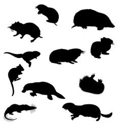 Beavers silhouettes vector