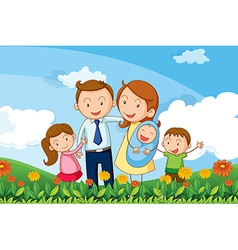 A family at the hills vector
