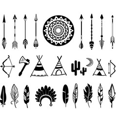 Silhouettes of the bow and arrow vector
