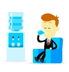 Businessman drinking a glass of water vector