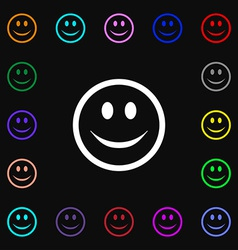 Smile happy face icon sign lots of colorful vector