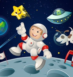 Space kid and dog vector