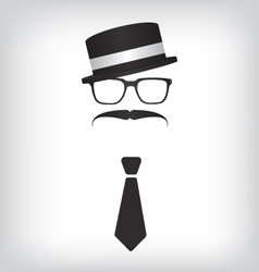 Hipster with tie and glasses vector