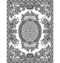 Grey ukrainian floral carpet design for print on vector