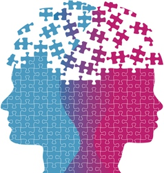 Man woman faces mind thought problem puzzle vector