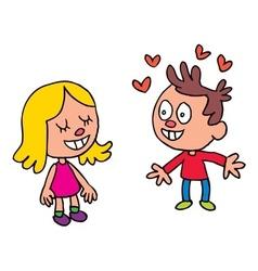 Boy falling in love vector