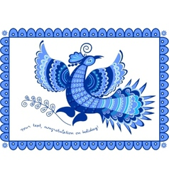 Greeting card blue bird in folk style vector