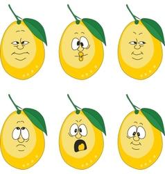 Emotion yellow lemon set vector