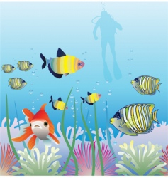 Tropical fishes and scuba diver vector