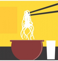 Chopsticks and noodles vector
