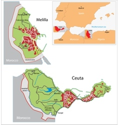 Ceuta and melilla map vector