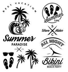 Set for design to topic summer with bikini party vector