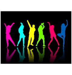 Silhouette people party dance vector