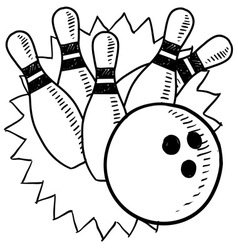 Doodle bowling vector